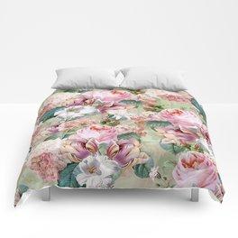 Vintage & Shabby Chic -Blush Pink Botanical Spring Roses Garden  Comforters