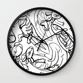 Scribbled Axolotls Wall Clock