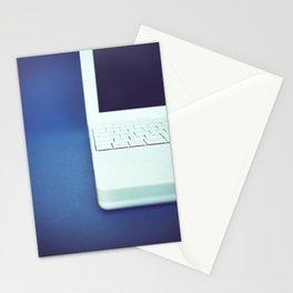 Laptop on blue background Stationery Cards