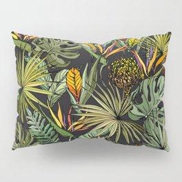Tropical pattern on black Pillow Sham