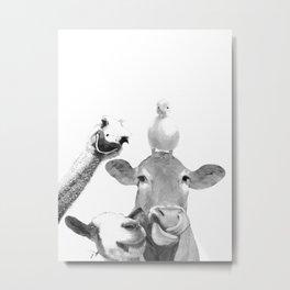 Black and White Farm Animal Friends Metal Print