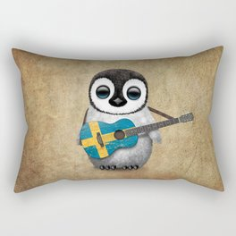 Baby Penguin Playing Swedish Flag Guitar Rectangular Pillow