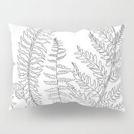 Minimal Line Art Fern Leaves Pillow Sham
