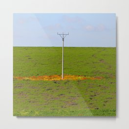 Electric blossom. Flowers Blooming around the electric pole in the green field Metal Print