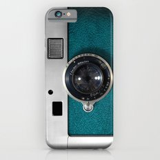 Classic retro Blue Teal Leather silver Germany vintage camera iPhone 4 4s 5 5c, ipod, ipad case Slim Case iPhone 6
