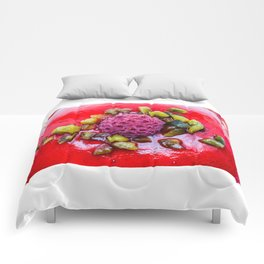 an delicious raspberry pie on an plate Comforters