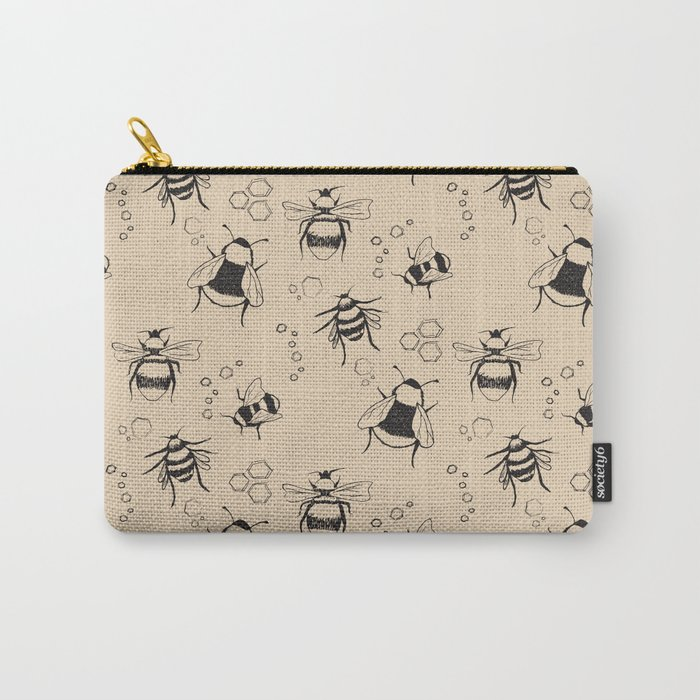 Honeybee Pattern Carry-All Pouch