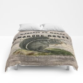 french country scripts fall autumn woodland animal grey squirrel Comforters