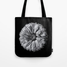 Backyard Flowers In Black And White 10 After The Storm Tote Bag