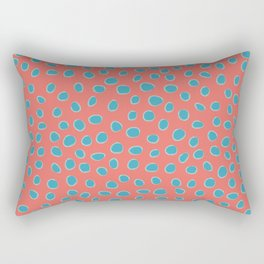 Living Coral and Turquoise, Teal Polka Dots Rectangular Pillow