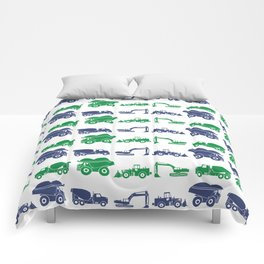 Blue and Green Construction Vehicles Comforters