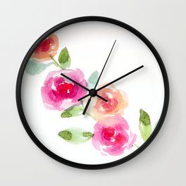 Pink and Orange Roses Wall Clock