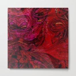 Contemporary Scarlet Bloom Swirl Metal Print