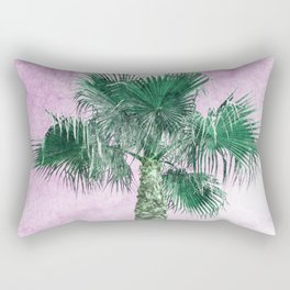 A green palm tree on a pink day Rectangular Pillow