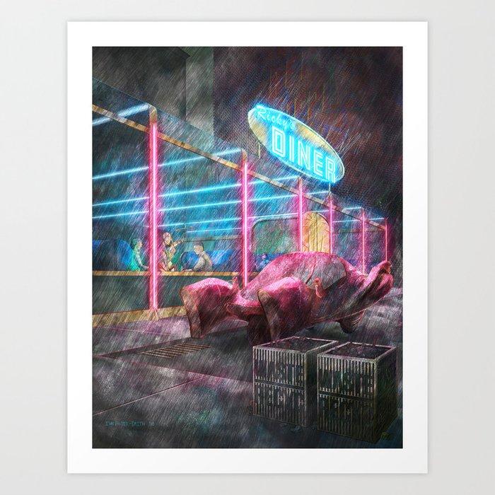 Diner at Night Art Print