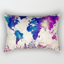 world map city skyline galaxy 2 Rectangular Pillow