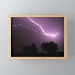 Purple Lightning Night Sky Framed Mini Art Print