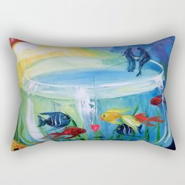 Catching fish in the tank Rectangular Pillow