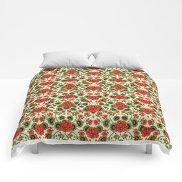 Red Geraniums -  Vintage-Inspired Floral Pattern For Spring Comforters