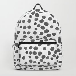 Modern hand painted gray black watercolor polka dots pattern Backpack