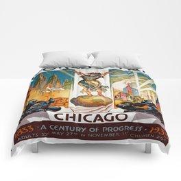 Vintage World's Fair Chicago IL 1933 Comforters