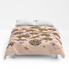 monotremes and wildflowers on apricot Comforters