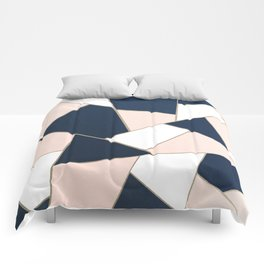 Navy Blue Blush White Gold Geometric Glam #1 #geo #decor #art #society6 Comforters