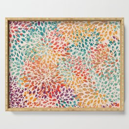 Festive, Abstract, Colorful, Floral Prints Serving Tray