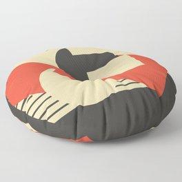 Geometrical abstract art deco mash-up scarlet beige Floor Pillow