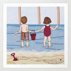 Embroidered Beach Illustration Art Print