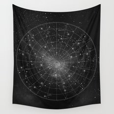 Constellation Star Map (B&W) Wall Tapestry
