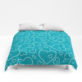 Turquoise and White Hand Drawn Hearts Pattern Comforters