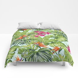 Bird of Paradise Greenery Aloha Hawaiiana Rainforest Tropical Leaves Floral Pattern Comforters