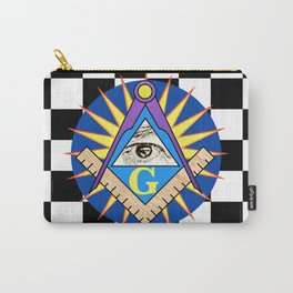 Masonic Square & Compass On Blue Disc Carry-All Pouch