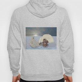 Inuit and Polar bear; Fishing. Hoody