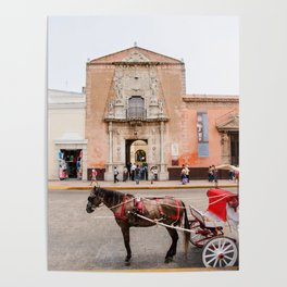 Horse Carriage in Downtown Merida, Mexico Poster