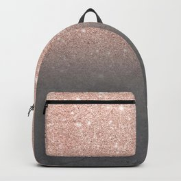 Rose gold glitter ombre grey cement concrete Backpack