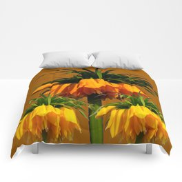 CARAMEL COLOR YELLOW CROWN IMPERIAL FLOWERS Comforters