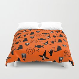 Witchy Halloween Print Duvet Cover