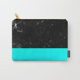 Aqua Blue Meets Black Marble #1 #decor #art #society6 Carry-All Pouch