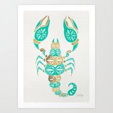 Scorpion – Turquoise & Gold Art Print