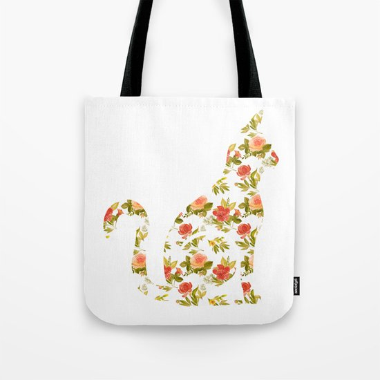 Roses and Peonies Cat Silhouette Tote Bag