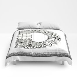 Zentangle D Monogram Alphabet Illustration Comforters