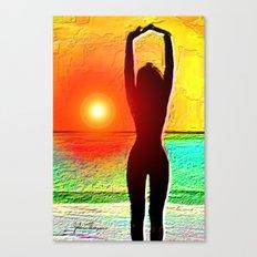 silhouette sunset beauty Canvas Print