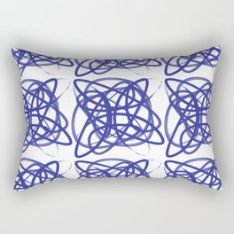 Curve1Print Blue and White Rectangular Pillow