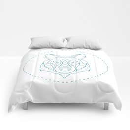Geometric Blue Wolf Comforters