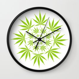 Cannabis Leaf Circle (White) Wall Clock