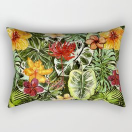 Tropical Vintage Exotic Jungle Flower Flowers - Floral watercolor pattern Rectangular Pillow