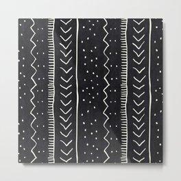 Moroccan Stripe in Black and White Metal Print