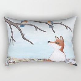 fox and eastern bluebirds Rectangular Pillow